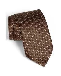 Cravatta a pois marrone scuro
