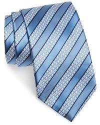 Cravatta a righe orizzontali azzurra