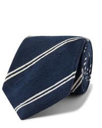 Cravatta a righe orizzontali blu scuro e bianca