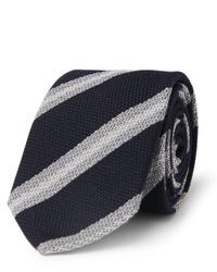 Cravatta a righe orizzontali blu scuro e bianca di Brioni