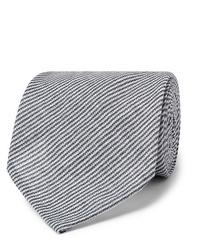 Cravatta a righe orizzontali blu scuro e bianca di Rubinacci
