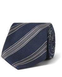Cravatta a righe orizzontali blu scuro e bianca di Tom Ford