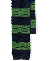 Cravatta a righe orizzontali blu scuro e verde