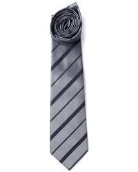 Cravatta a righe orizzontali grigia