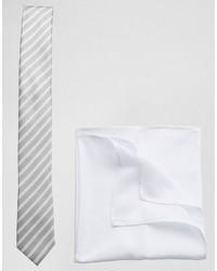 Cravatta a righe orizzontali grigia di Asos