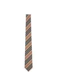Cravatta a righe orizzontali marrone chiaro di Burberry