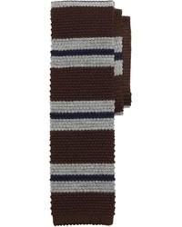 Cravatta a righe orizzontali marrone