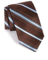 Cravatta a righe orizzontali marrone scuro