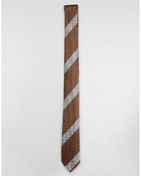 Cravatta a righe orizzontali marrone di Asos