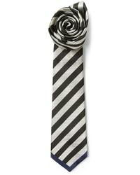 Cravatta a righe orizzontali nera e bianca