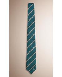 Cravatta a righe orizzontali verde scuro