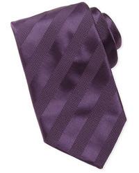 Cravatta a righe orizzontali viola melanzana