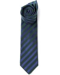 Cravatta a righe verticali blu scuro e verde