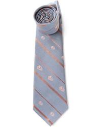 Cravatta a righe verticali grigia di Alexander McQueen