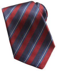 Cravatta a righe verticali rossa e blu scuro