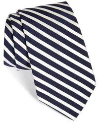Cravatta bianca e blu scuro