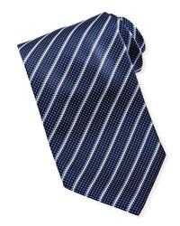 Cravatta blu scuro e bianca
