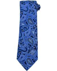 Cravatta con stampa cachemire blu