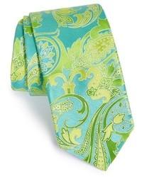 Cravatta con stampa cachemire blu scuro e verde