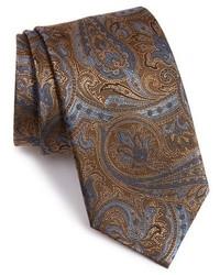 Cravatta con stampa cachemire marrone scuro