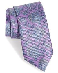 Cravatta con stampa cachemire viola chiaro
