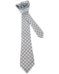 Cravatta di lana a quadretti grigia di Kiton