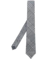 Cravatta di lana a quadri grigia di Brunello Cucinelli