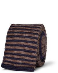 Cravatta di lana a righe orizzontali marrone scuro