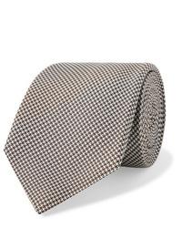 Cravatta di lana con motivo pied de poule marrone di Kingsman