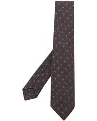 Cravatta di lana stampata marrone di Kiton