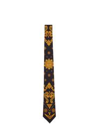 Cravatta di seta a fiori nera di Versace