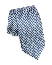 Cravatta di seta a quadri blu scuro e bianca