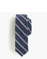 Cravatta di seta a righe orizzontali blu scuro