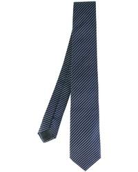 Cravatta di seta a righe orizzontali blu scuro di Armani Collezioni
