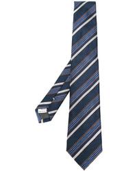 Cravatta di seta a righe orizzontali blu scuro di Canali
