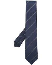 Cravatta di seta a righe orizzontali blu scuro di Corneliani