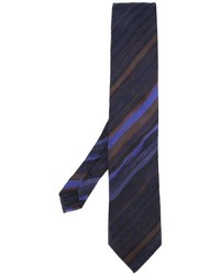 Cravatta di seta a righe orizzontali blu scuro di Etro