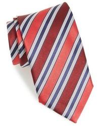 Cravatta di seta a righe orizzontali rossa