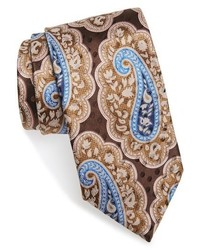 Cravatta di seta con stampa cachemire marrone chiaro