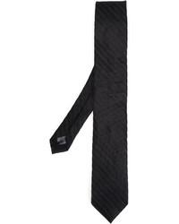 Cravatta di seta lavorata a maglia nera di Tonello
