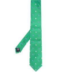 Cravatta di seta ricamata verde di fe-fe