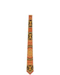 Cravatta di seta rossa e nera di Versace