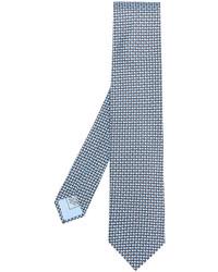 Cravatta di seta stampata azzurra di Brioni