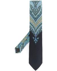 Cravatta di seta stampata azzurra di Etro
