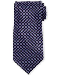Cravatta di seta stampata melanzana scuro