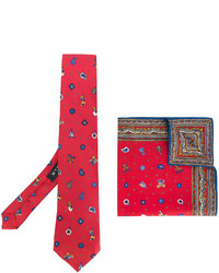 Cravatta di seta stampata rossa di Etro