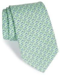Cravatta di seta stampata verde menta
