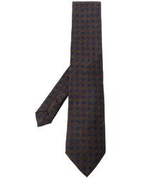 Cravatta geometrica marrone scuro