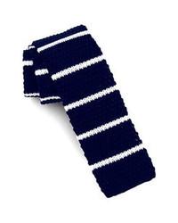 Cravatta lavorata a maglia blu scuro e bianca