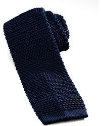 Cravatta lavorata a maglia blu scuro